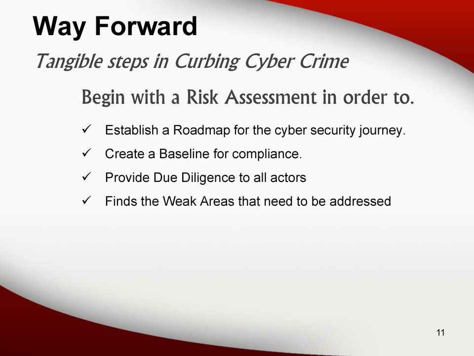Establish a Roadmap for the cyber security journey.