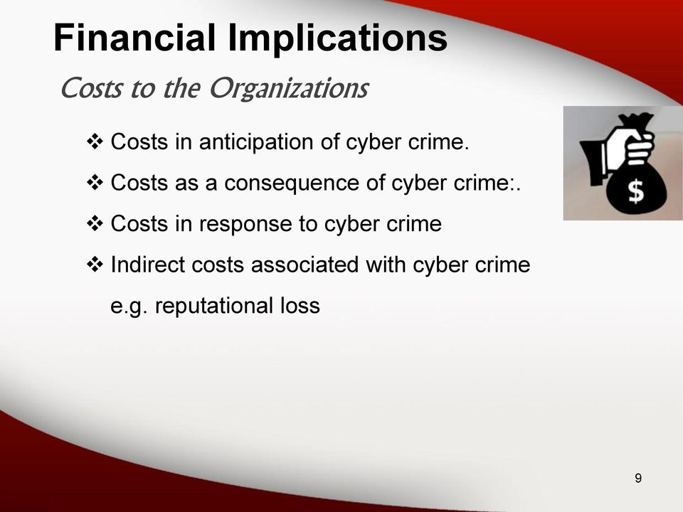 Costs as a consequence of cyber crime:.
