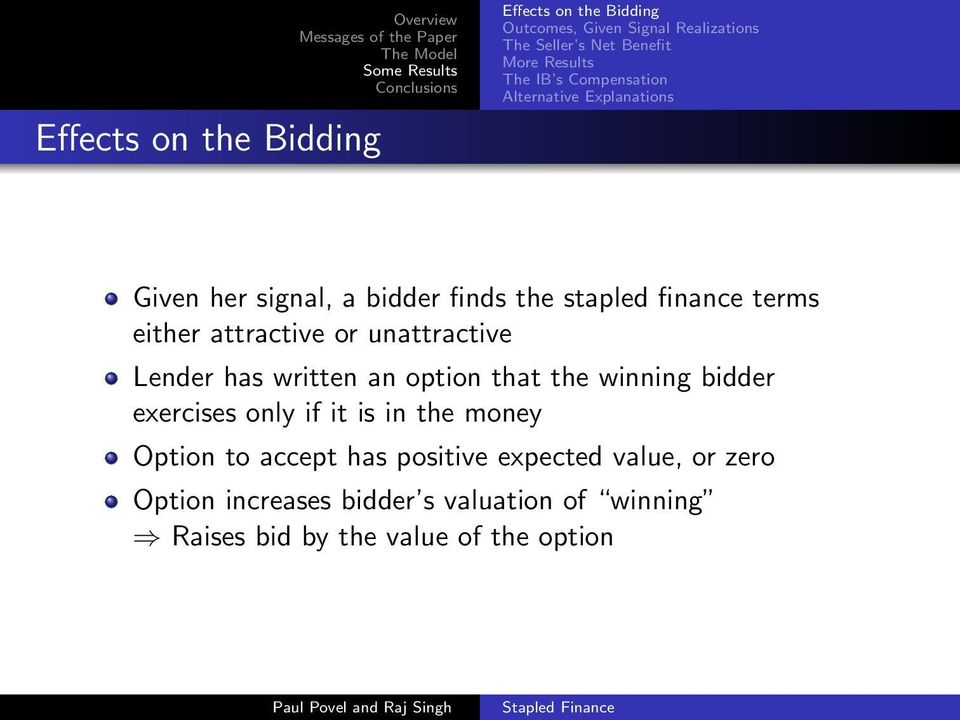 attractive or unattractive Lender has written an option that the winning bidder exercises only if it is in the money