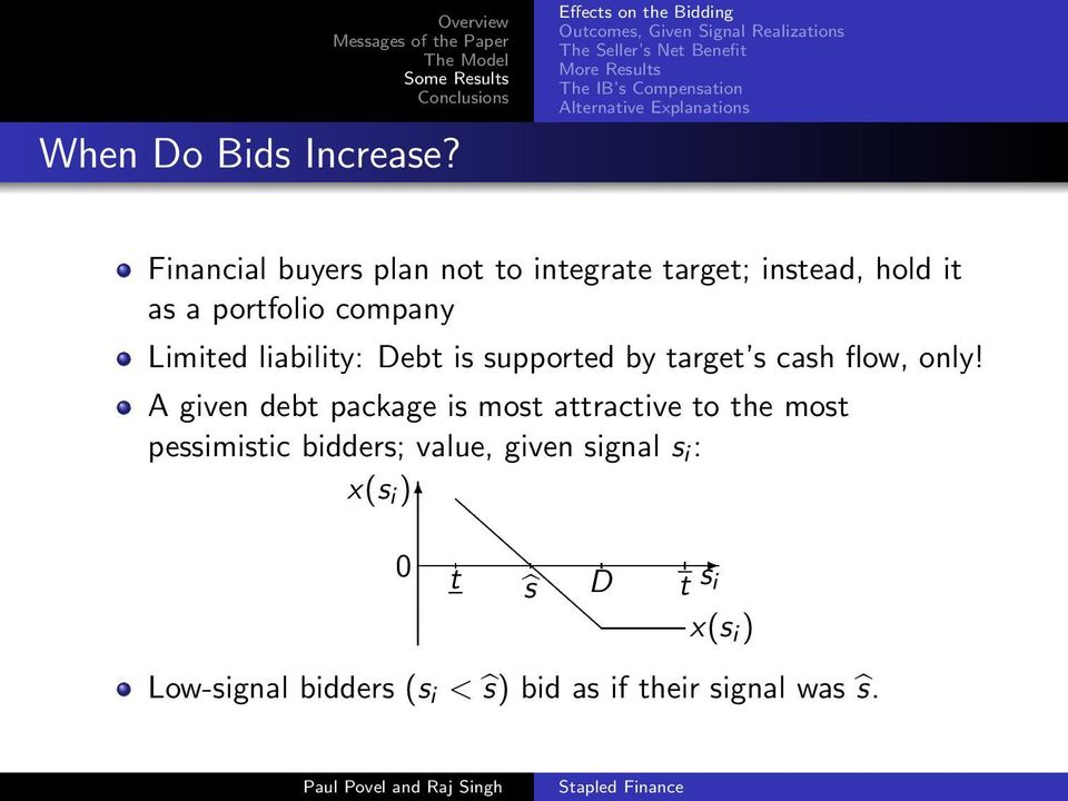 Alternative Explanations Financial buyers plan not to integrate target; instead, hold it as a portfolio company Limited