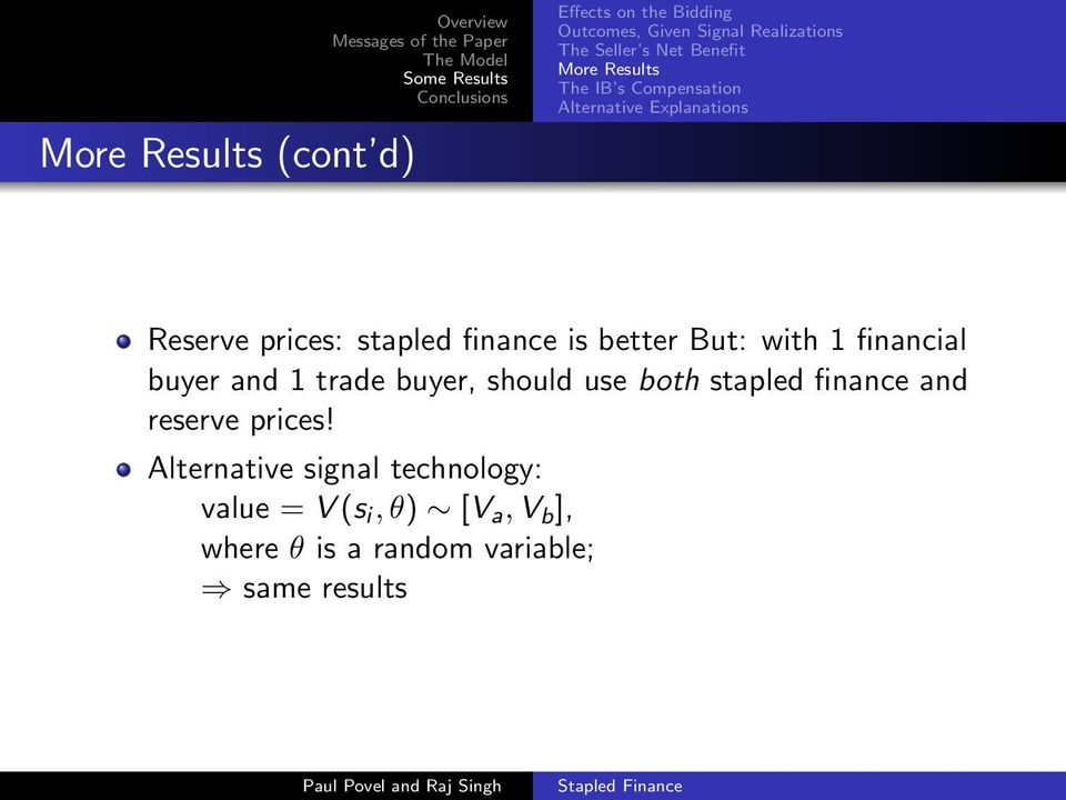 is better But: with 1 financial buyer and 1 trade buyer, should use both stapled finance and reserve