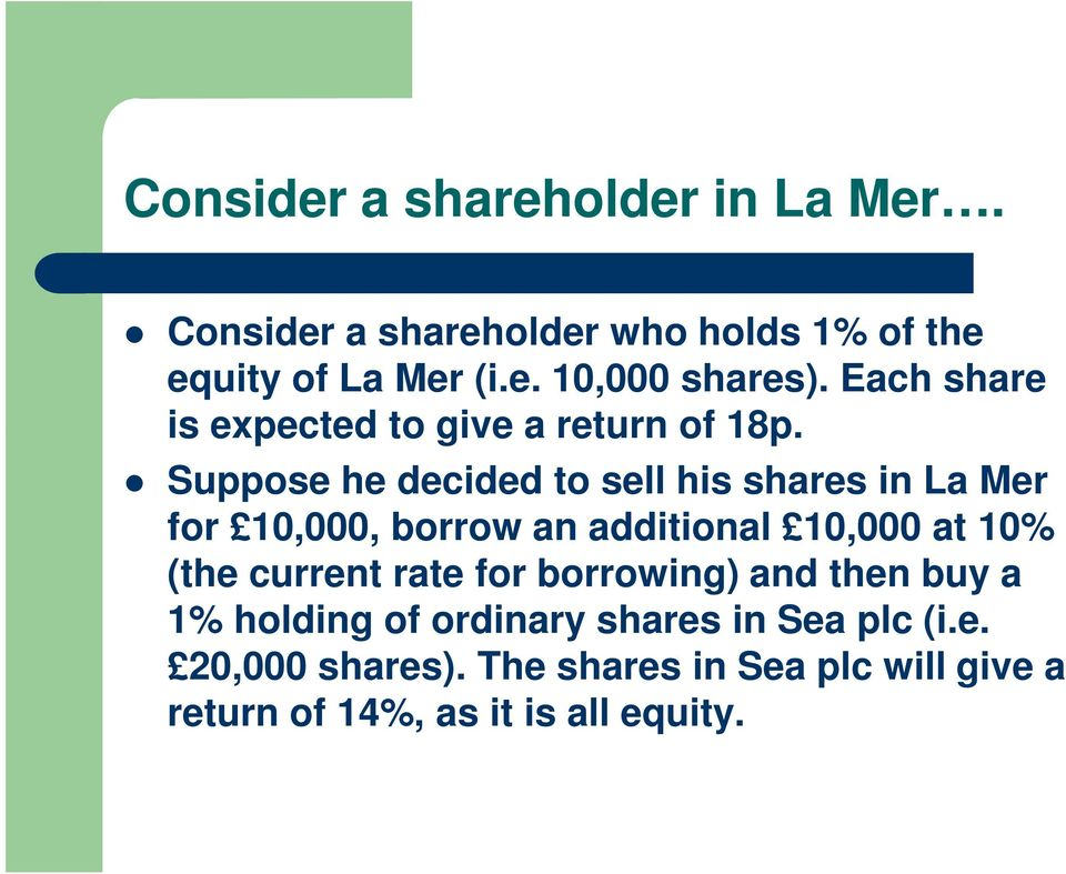 Suppose he decided to sell his shares in La Mer for 10,000, borrow an additional 10,000 at 10% (the current