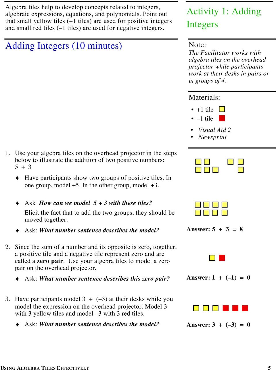 Adding Integers (10 minutes) Activity 1: Adding Integers The Facilitator works with algebra tiles on the overhead projector while participants work at their desks in pairs or in groups of 4.