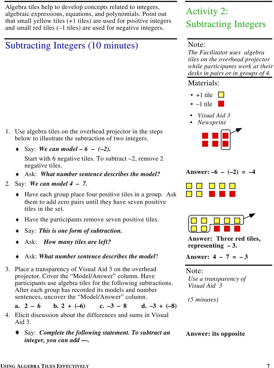 Subtracting Integers (10 minutes) Activity 2: Subtracting Integers The Facilitator uses algebra tiles on the overhead projector while participants work at their desks in pairs or in groups of 4.