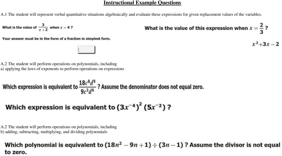 given replacement values of the variables. A.