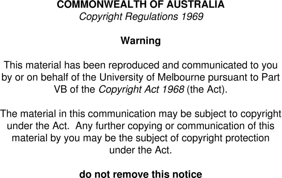 The material in this communication may be subject to copyright under the Act.