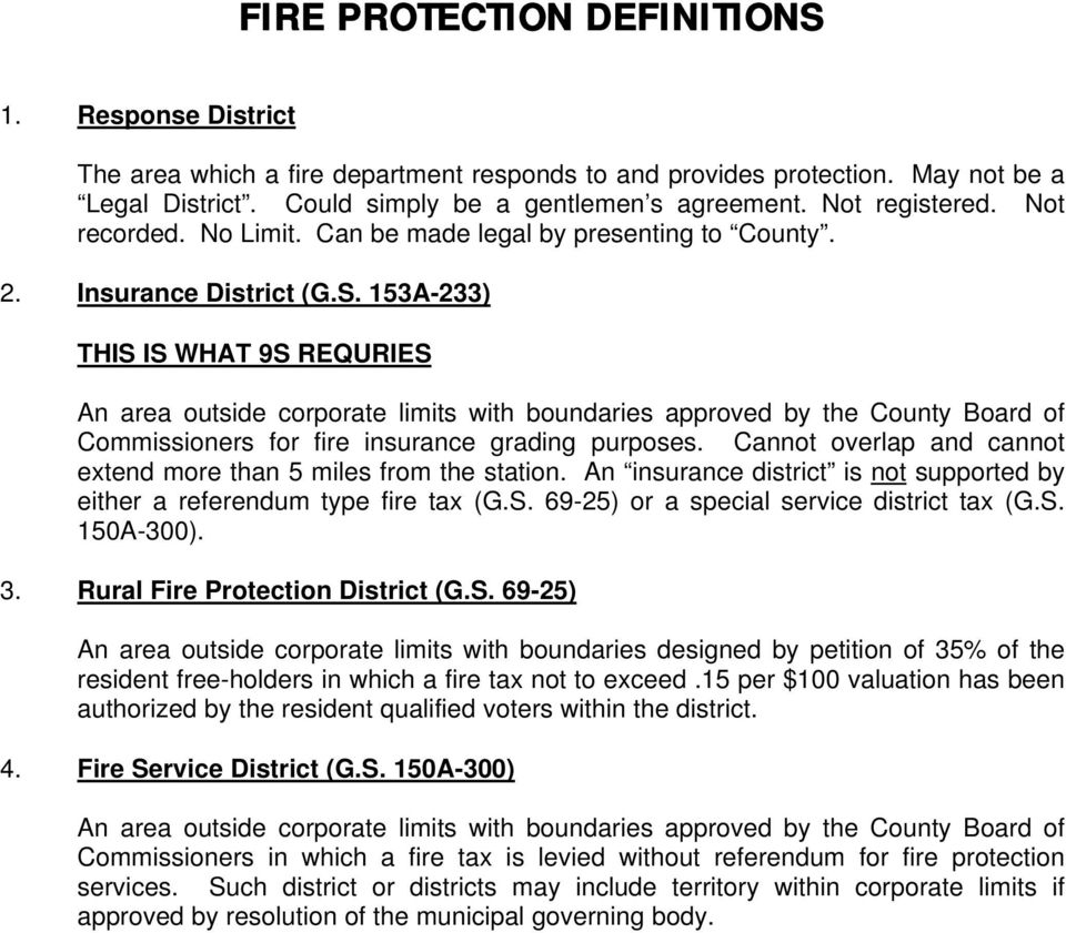 153A-233) THIS IS WHAT 9S REQURIES An area outside corporate limits with boundaries approved by the County Board of Commissioners for fire insurance grading purposes.