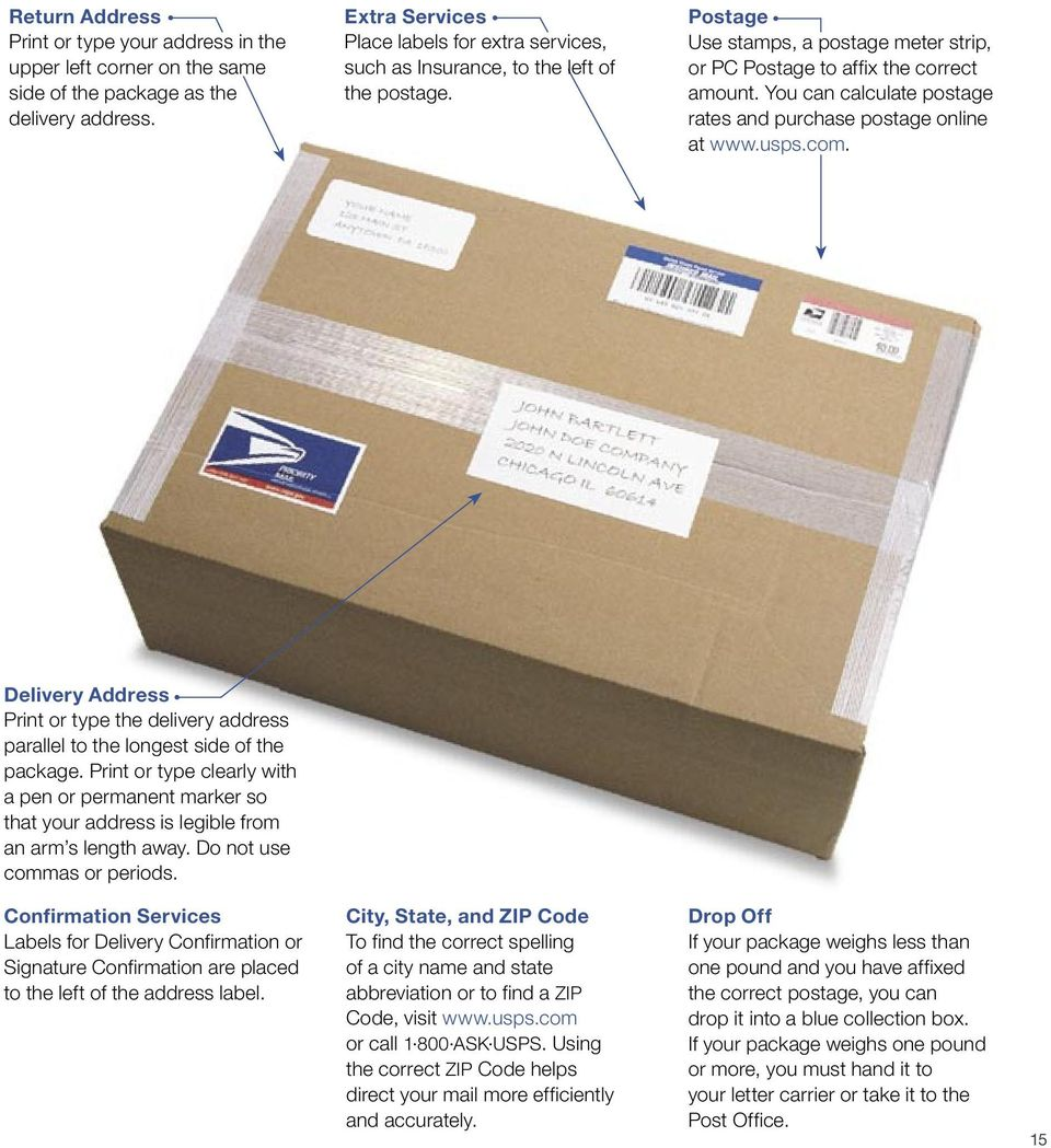 You can calculate postage rates and purchase postage online at www.usps.com. Delivery Address Print or type the delivery address parallel to the longest side of the package.