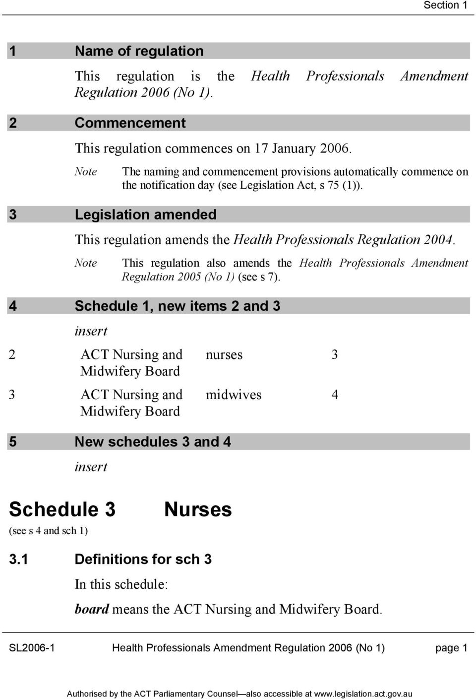 3 Legislation amended This regulation amends the Health Professionals Regulation 2004. This regulation also amends the Health Professionals Amendment Regulation 2005 (No 1) (see s 7).