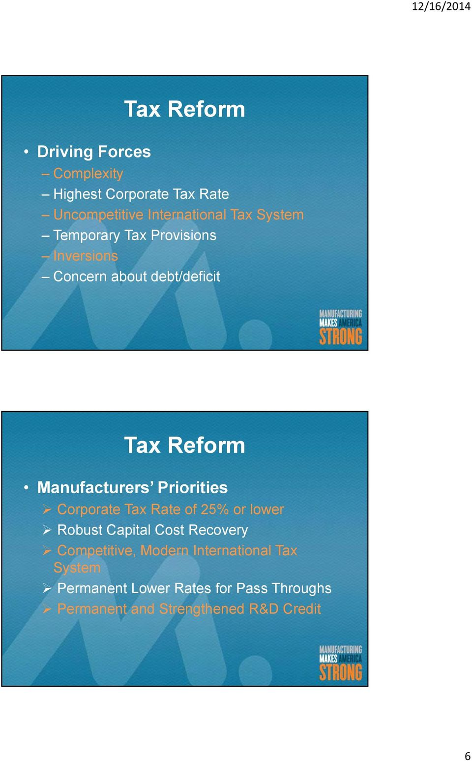 Priorities Corporate Tax Rate of 25% or lower Robust Capital Cost Recovery Competitive, Modern