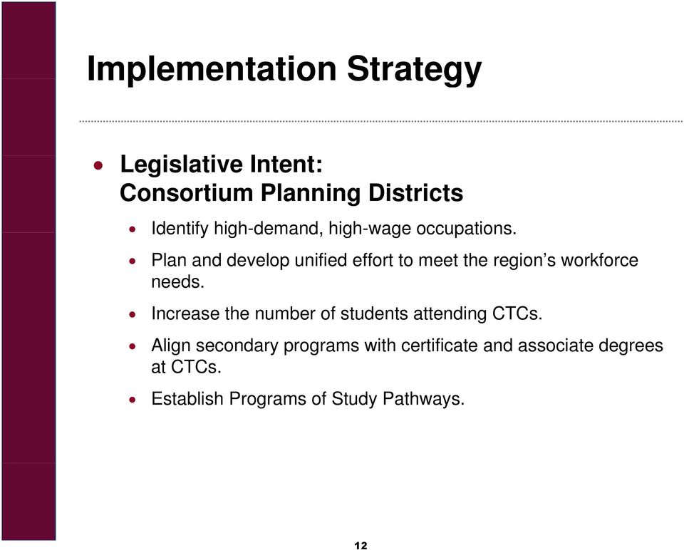Plan and develop unified effort to meet the region s workforce needs.