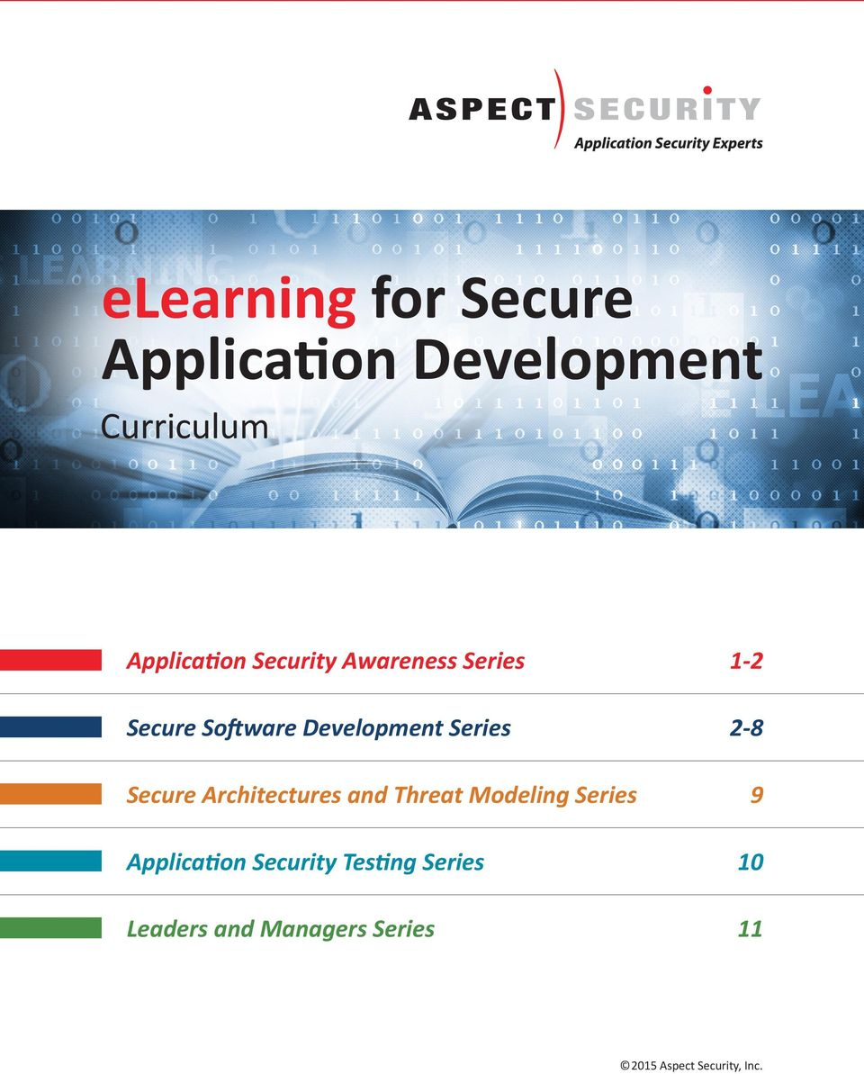 Secure Architectures and Threat Modeling Series 9 Application Security