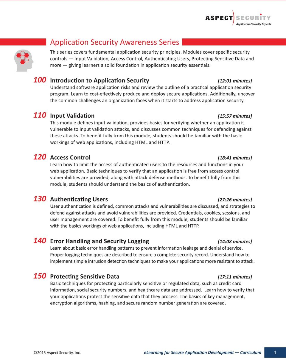 essentials. 100 Introduction to Application Security [12:01 minutes] Understand software application risks and review the outline of a practical application security program.