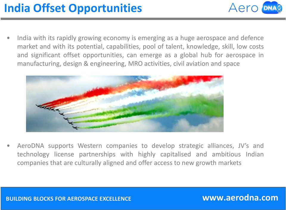manufacturing, design& engineering, MRO activities, civil aviation and space AeroDNA supports Western companies to develop strategic alliances, JV