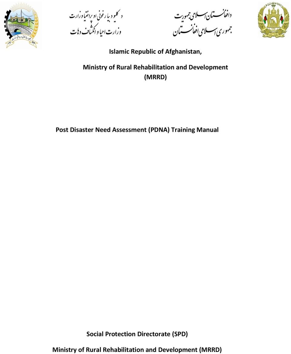 Post Disaster Need Assessment (PDNA) Training Manual Social