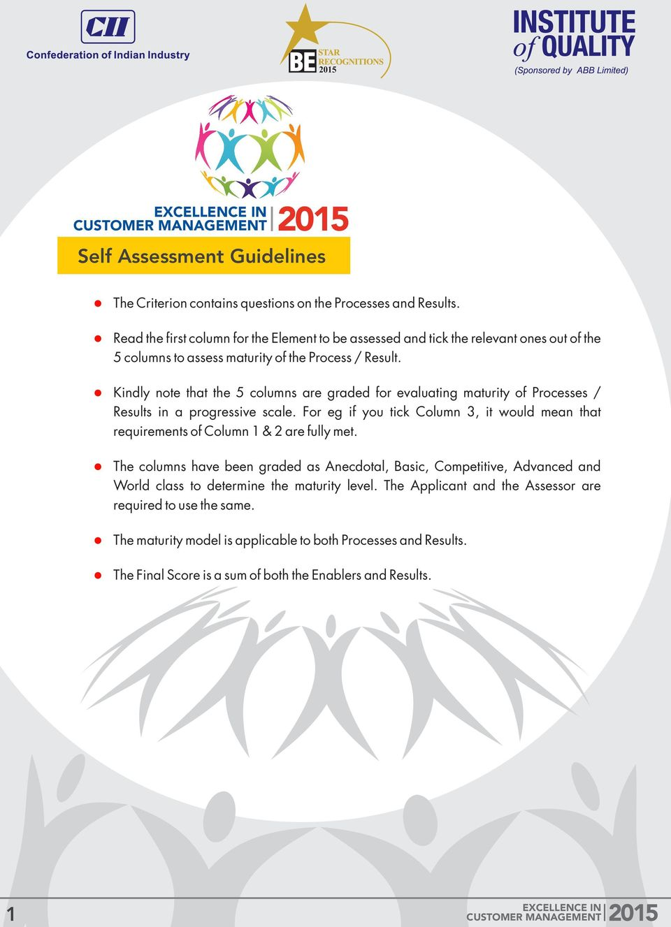 Kindly note that the 5 columns are graded for evaluating maturity of Processes / Results in a progressive scale.