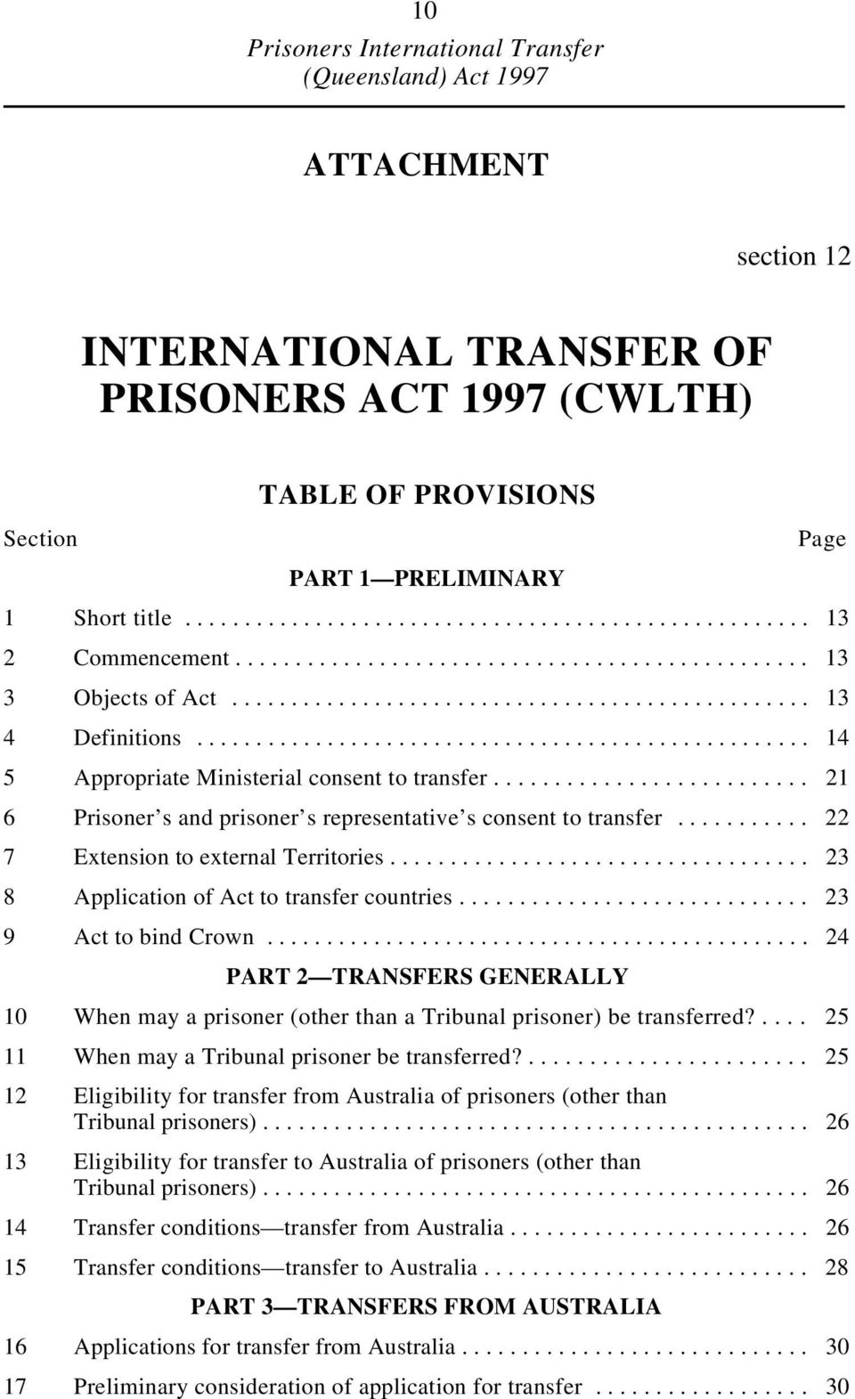 ......................... 21 6 Prisoner s and prisoner s representative s consent to transfer........... 22 7 Extension to external Territories................................... 23 8 Application of Act to transfer countries.