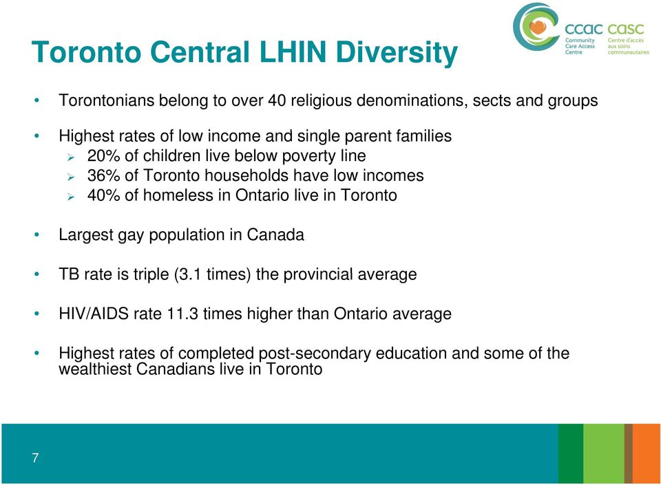 Ontario live in Toronto Largest gay population in Canada TB rate is triple (3.1 times) the provincial average HIV/AIDS rate 11.