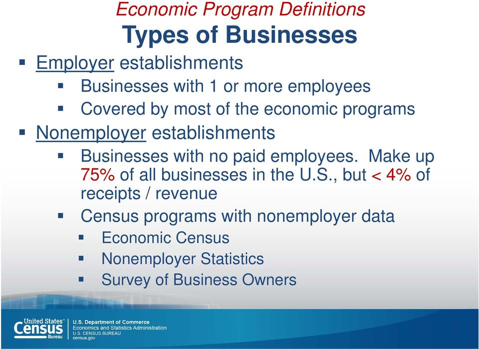 with no paid employees. Make up 75% of all businesses in the U.S.