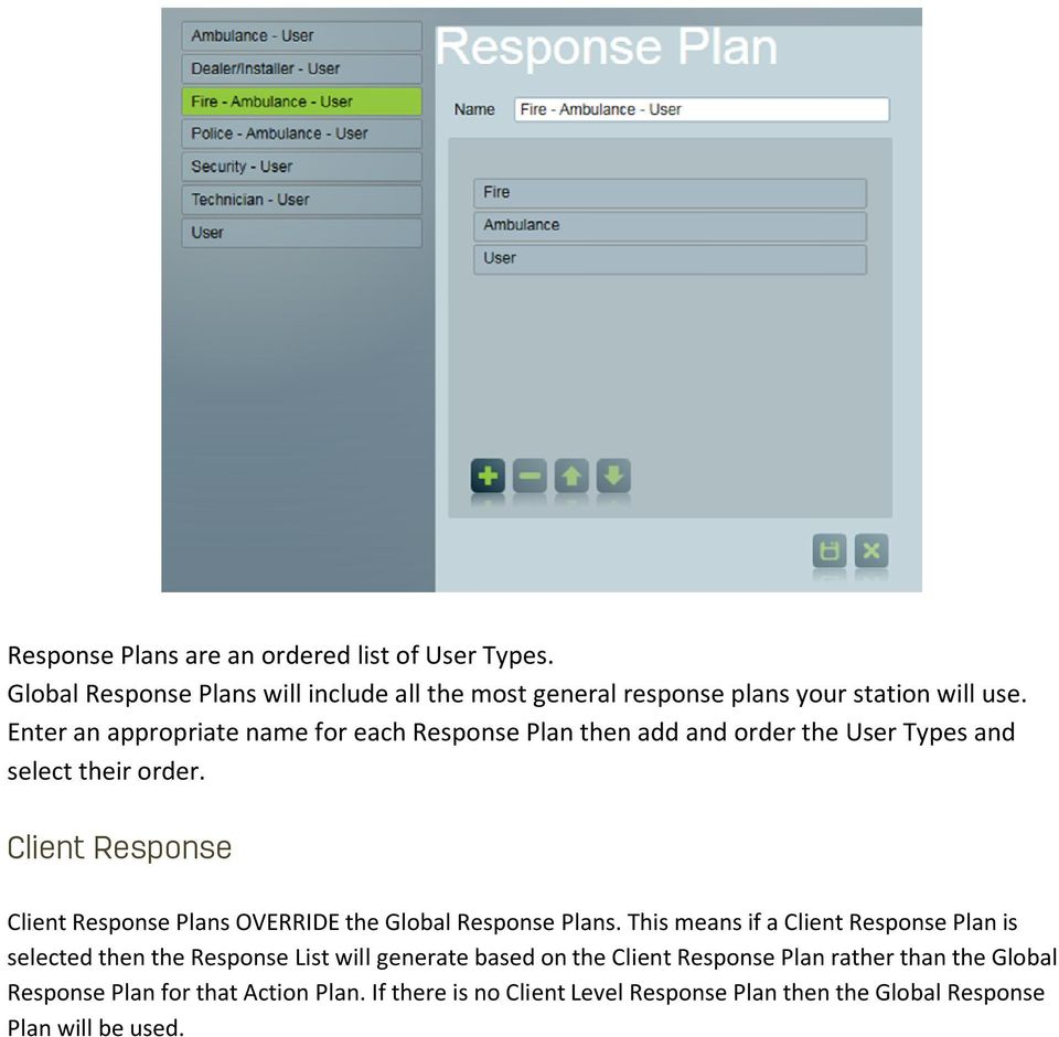 Client Response Client Response Plans OVERRIDE the Global Response Plans.