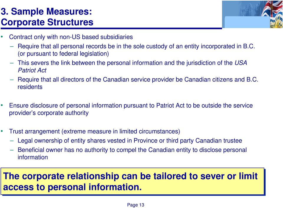 ntract only with non-us based subsidiaries Require that all personal records be in the sole custody of an entity incorporated in B.C.