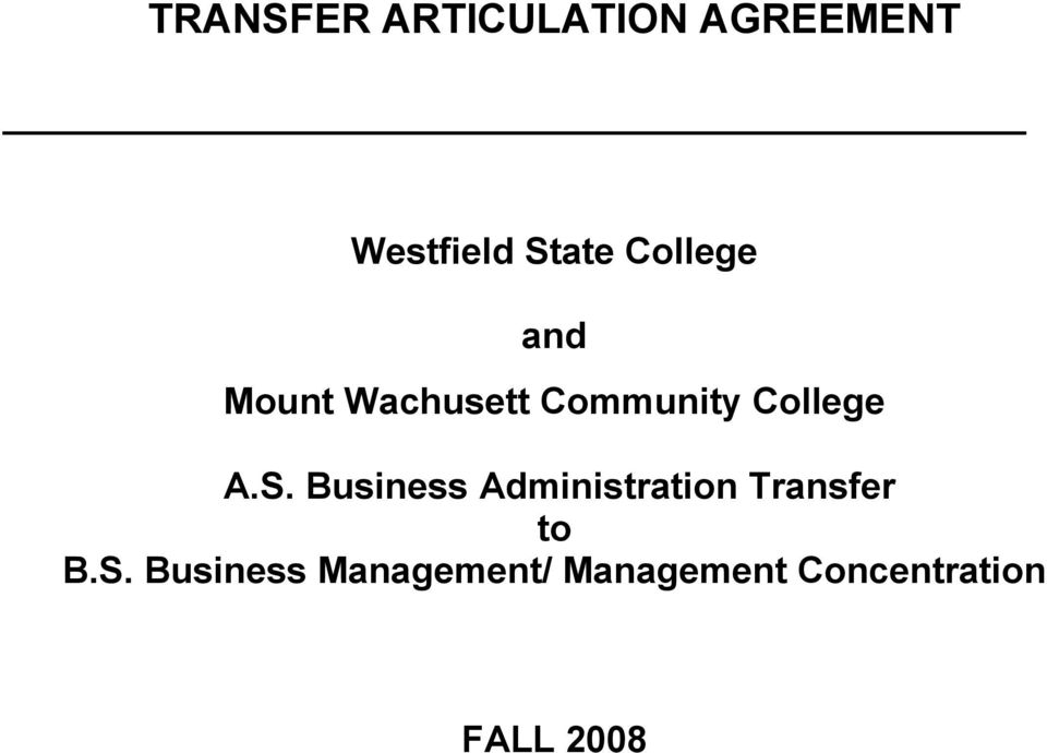 S. Business Administration Transfer to B.S.