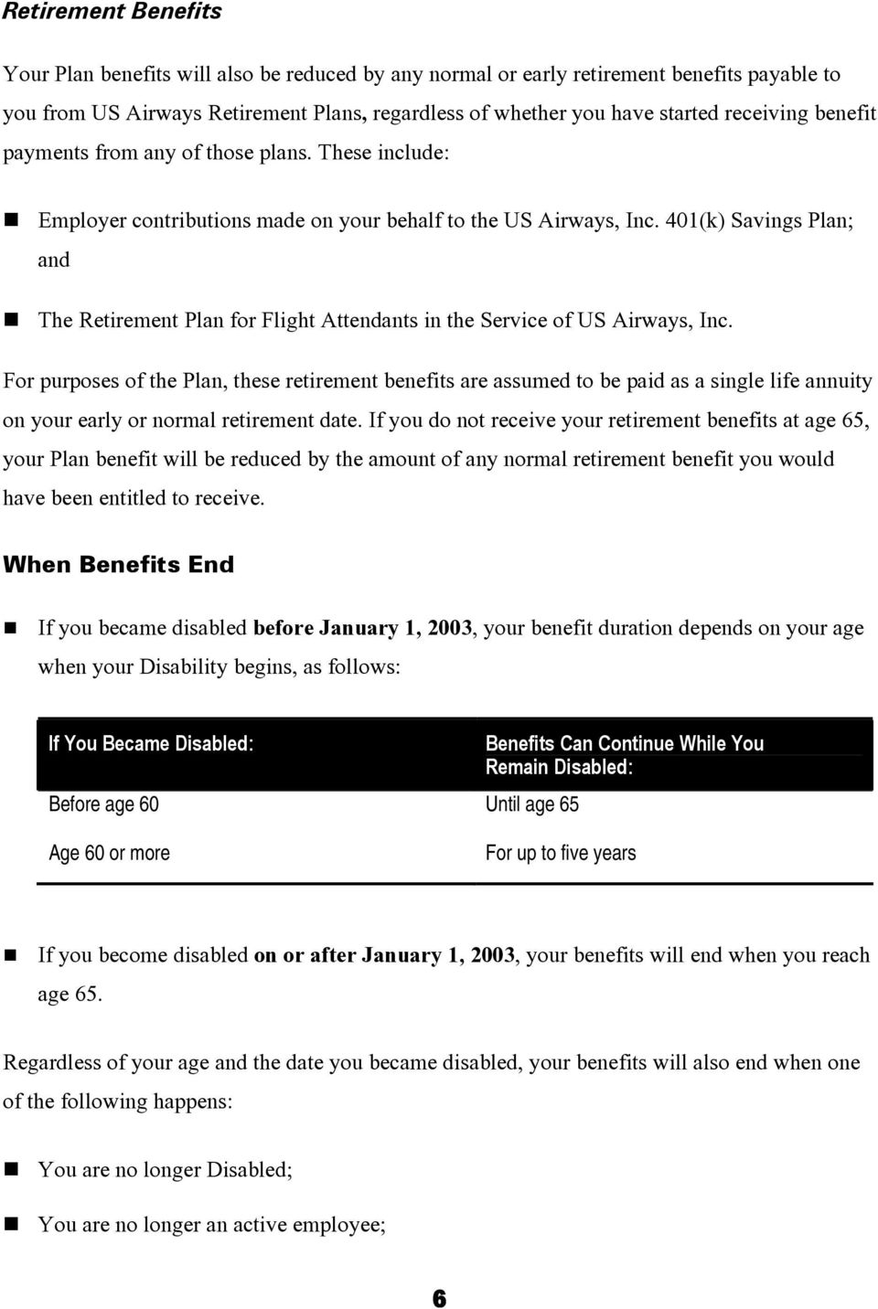 401(k) Savings Plan; and The Retirement Plan for Flight Attendants in the Service of US Airways, Inc.