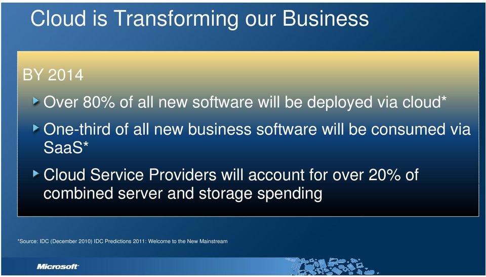 SaaS* Cloud Service Providers will account for over 20% of combined server and