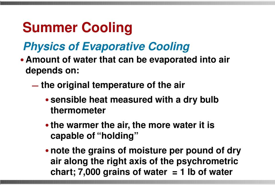 warmer the air, the more water it is capable of holding note the grains of moisture per pound