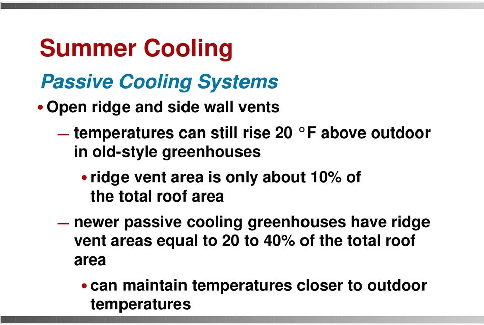 total roof area newer passive cooling greenhouses have ridge vent areas equal to 20