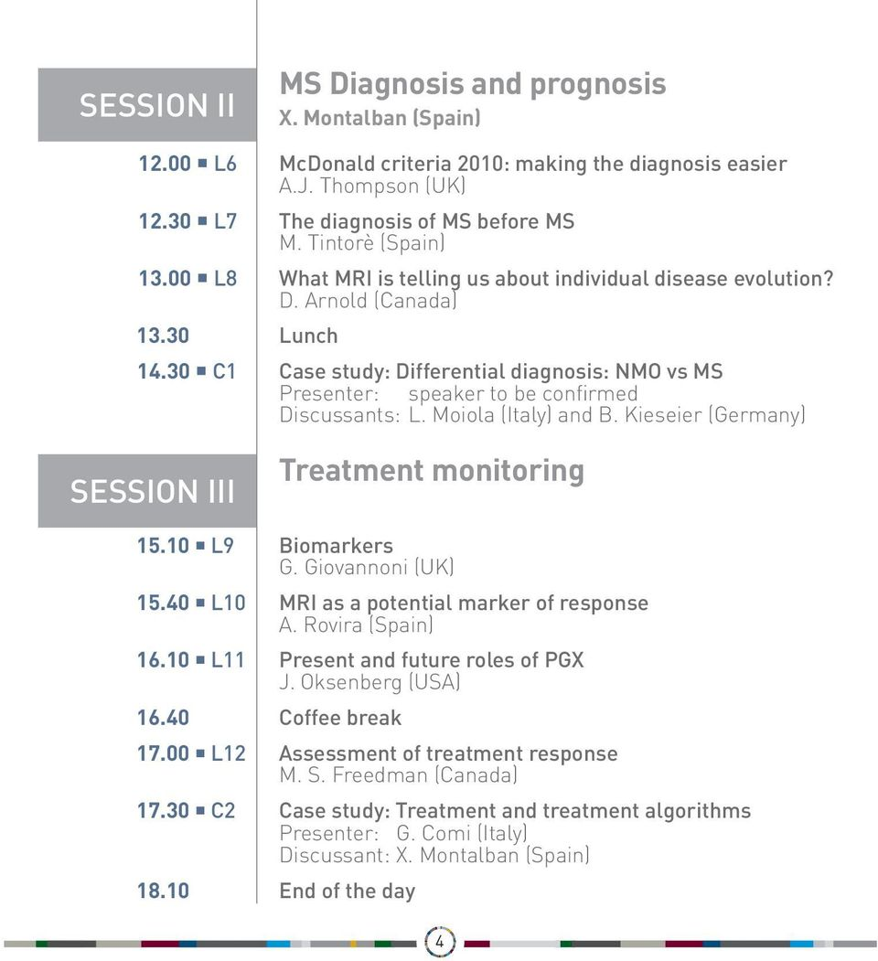 30 C1 Case study: Differential diagnosis: NMO vs MS Presenter: speaker to be confirmed Discussants: L. Moiola (Italy) and B. Kieseier (Germany) SESSION III Treatment monitoring 15.10 L9 Biomarkers G.