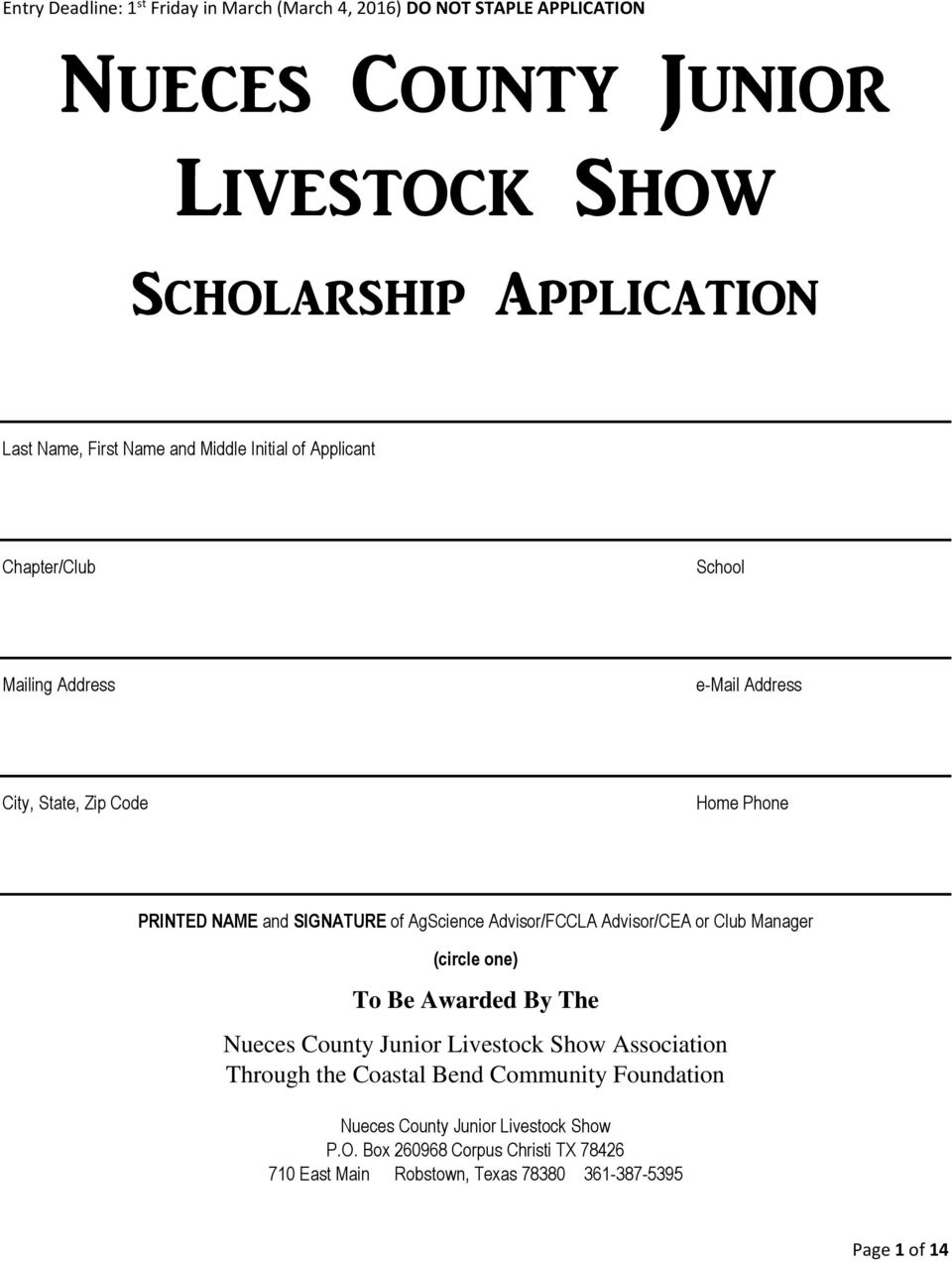 AgScience Advisor/FCCLA Advisor/CEA or Club Manager (circle one) To Be Awarded By The Nueces County Junior Livestock Show Association Through the Coastal
