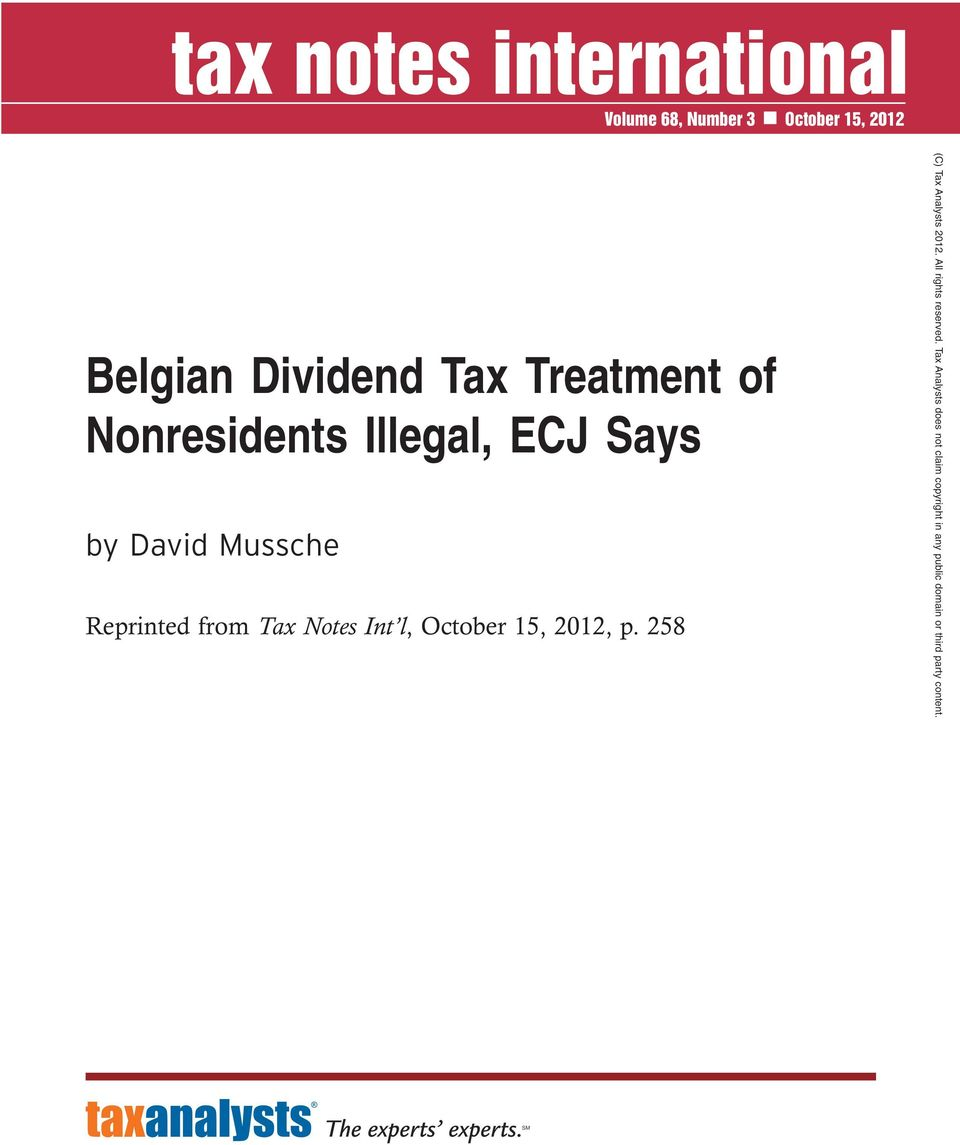 Nonresidents Illegal, ECJ Says by David