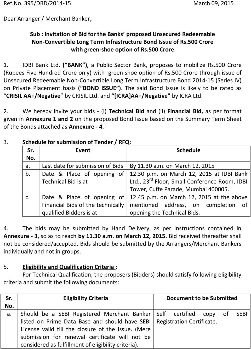 500 Crore through issue of Unsecured Redeemable Non-Convertible Long Term Infrastructure Bond 2014-15 (Series IV) on Private Placement basis ( BOND ISSUE ).