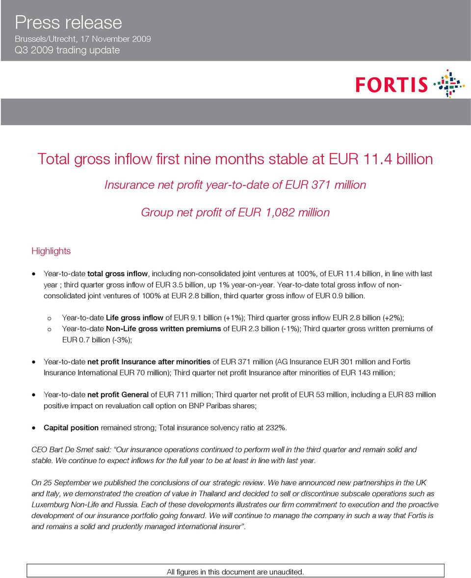 EUR 11.4 billion, in line with last year ; third quarter gross inflow of EUR 3.5 billion, up 1% year-on-year. Year-to-date total gross inflow of nonconsolidated joint ventures of 100% at EUR 2.