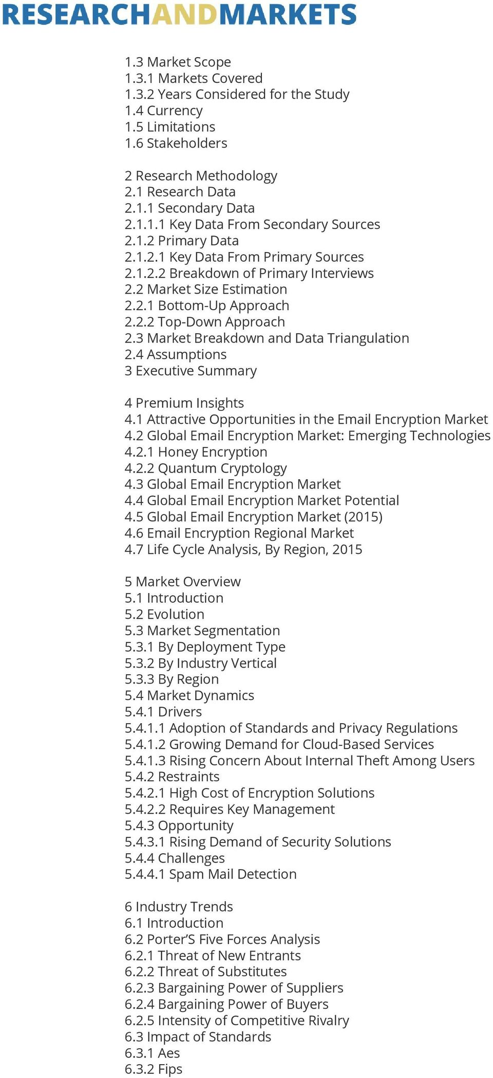3 Market Breakdown and Data Triangulation 2.4 Assumptions 3 Executive Summary 4 Premium Insights 4.1 Attractive Opportunities in the Email Encryption Market 4.
