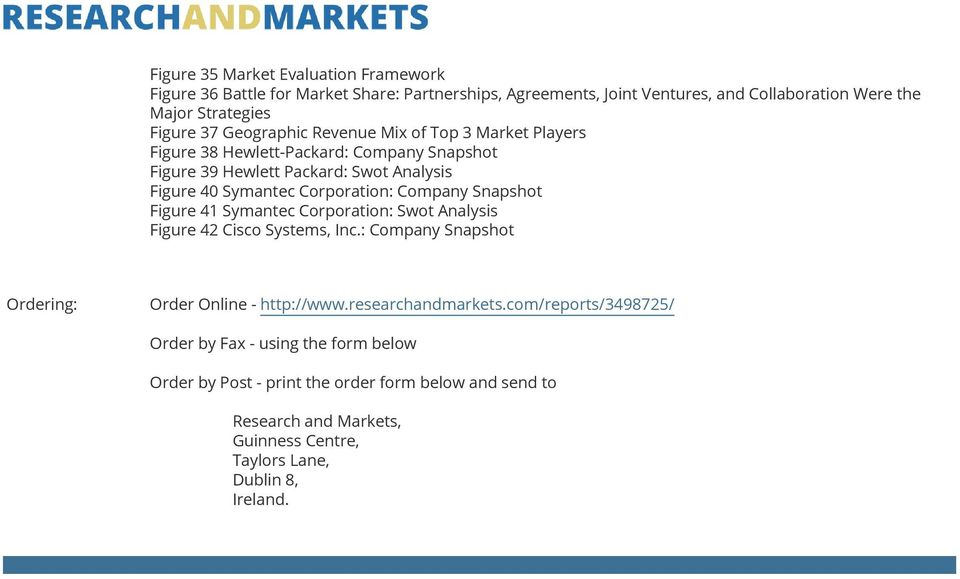 Company Snapshot Figure 41 Symantec Corporation: Swot Analysis Figure 42 Cisco Systems, Inc.: Company Snapshot Ordering: Order Online - http://www.researchandmarkets.