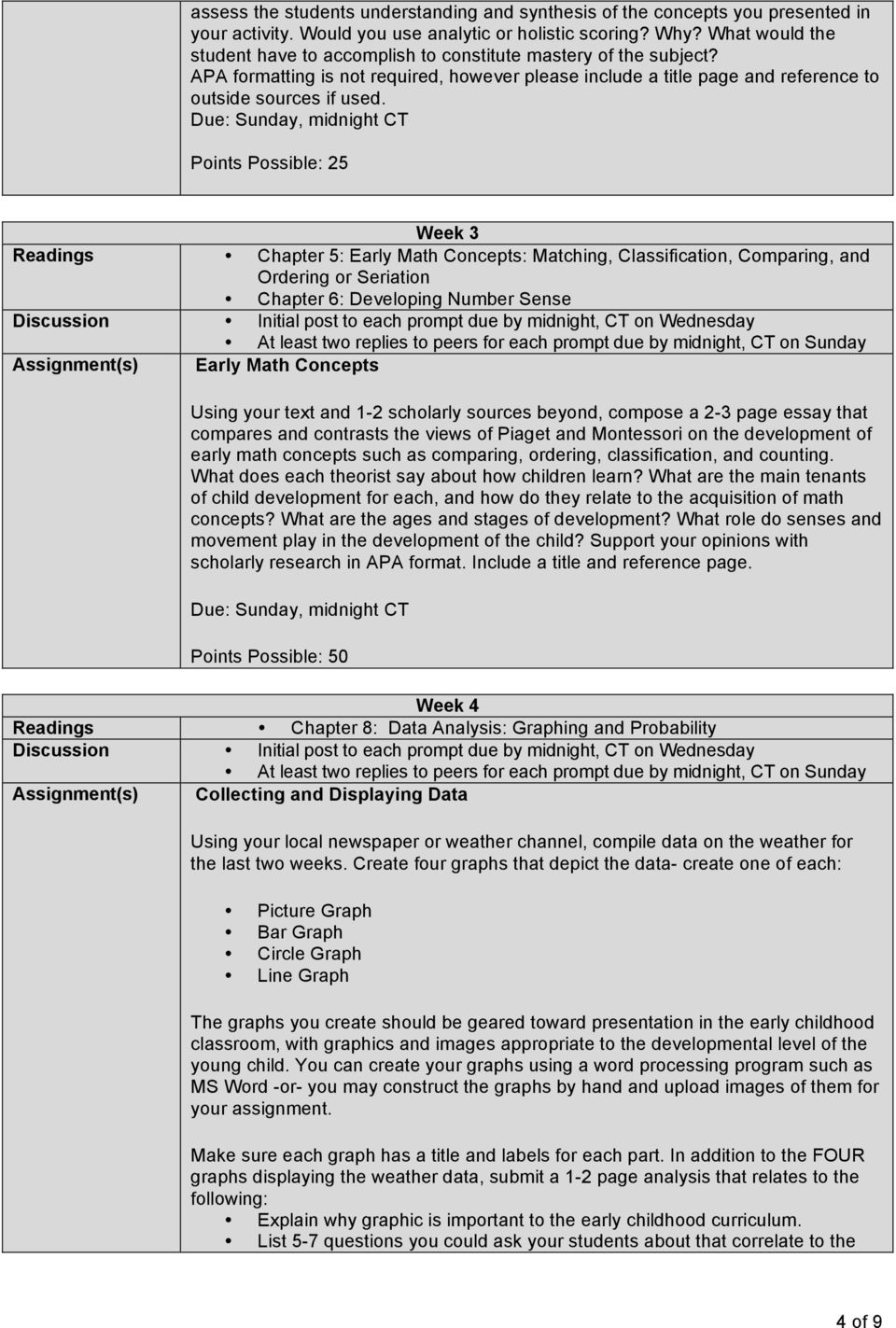 Points Possible: 25 Week 3 Readings Chapter 5: Early Math Concepts: Matching, Classification, Comparing, and Ordering or Seriation Chapter 6: Developing Number Sense Assignment(s) Early Math Concepts