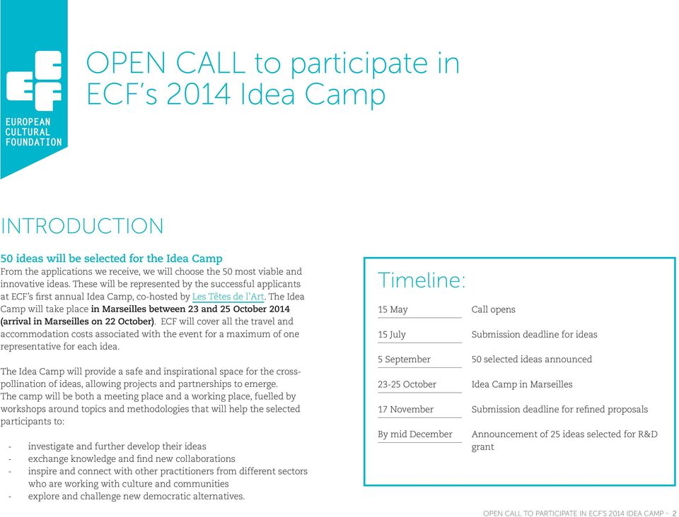 The Idea Camp will take place in Marseilles between 23 and 25 October 2014 (arrival in Marseilles on 22 October).