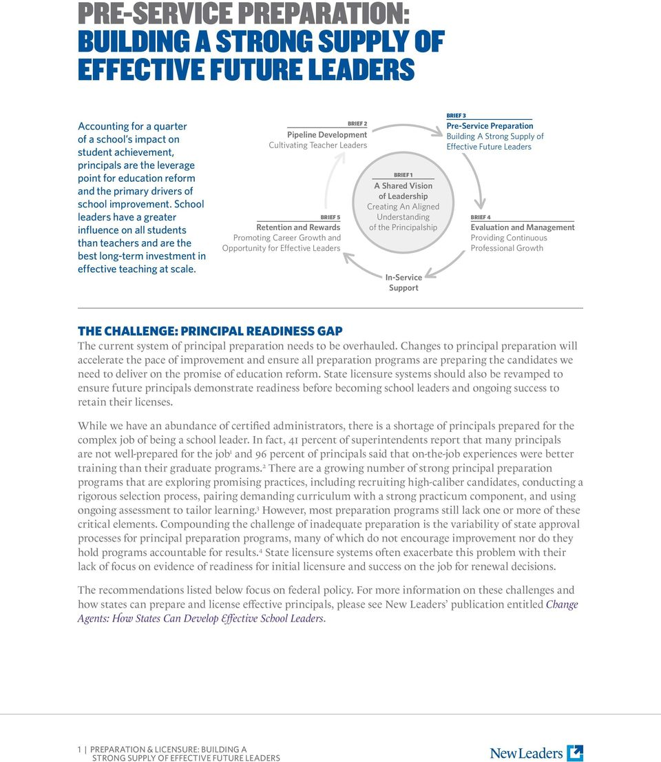 Pipeline Development Cultivating Teacher Leaders BRIEF 5 Retention and Rewards Promoting Career Growth and Opportunity for Effective Leaders BRIEF 2 BRIEF 1 A Shared Vision of Leadership Creating An