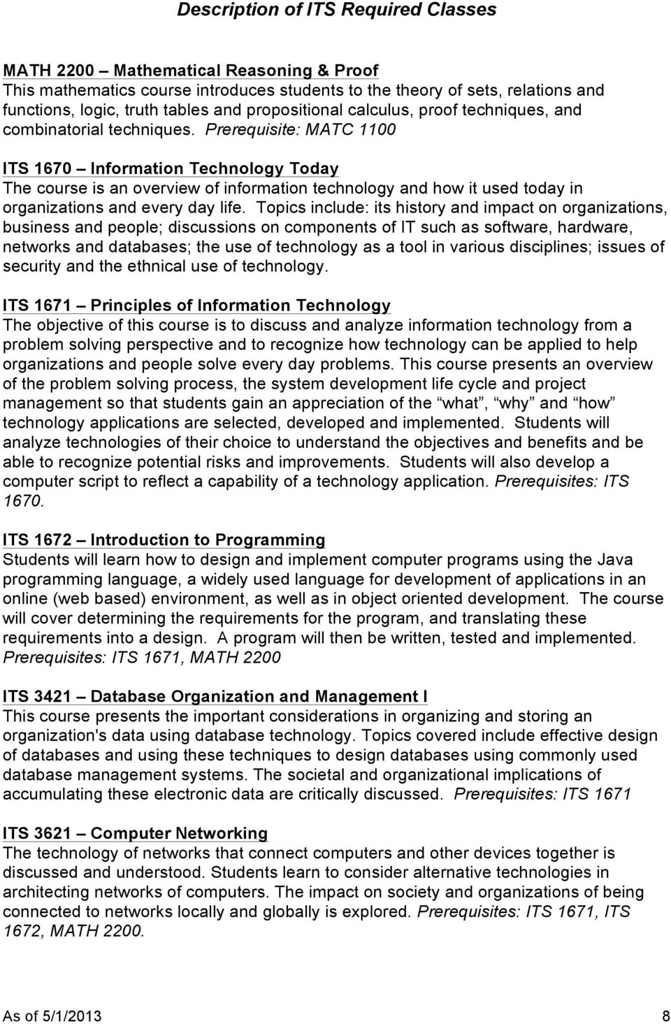 Prerequisite: MATC 1100 ITS 1670 Information Technology Today The course is an overview of information technology and how it used today in organizations and every day life.