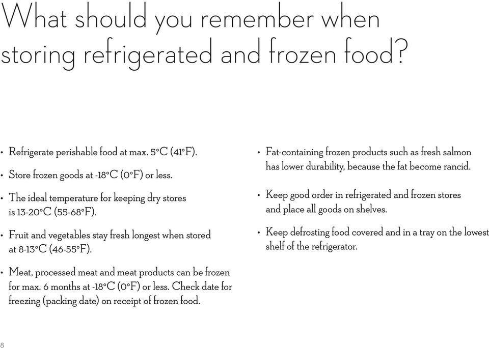 Meat, processed meat and meat products can be frozen for max. 6 months at -18 C (0 F) or less. Check date for freezing (packing date) on receipt of frozen food.