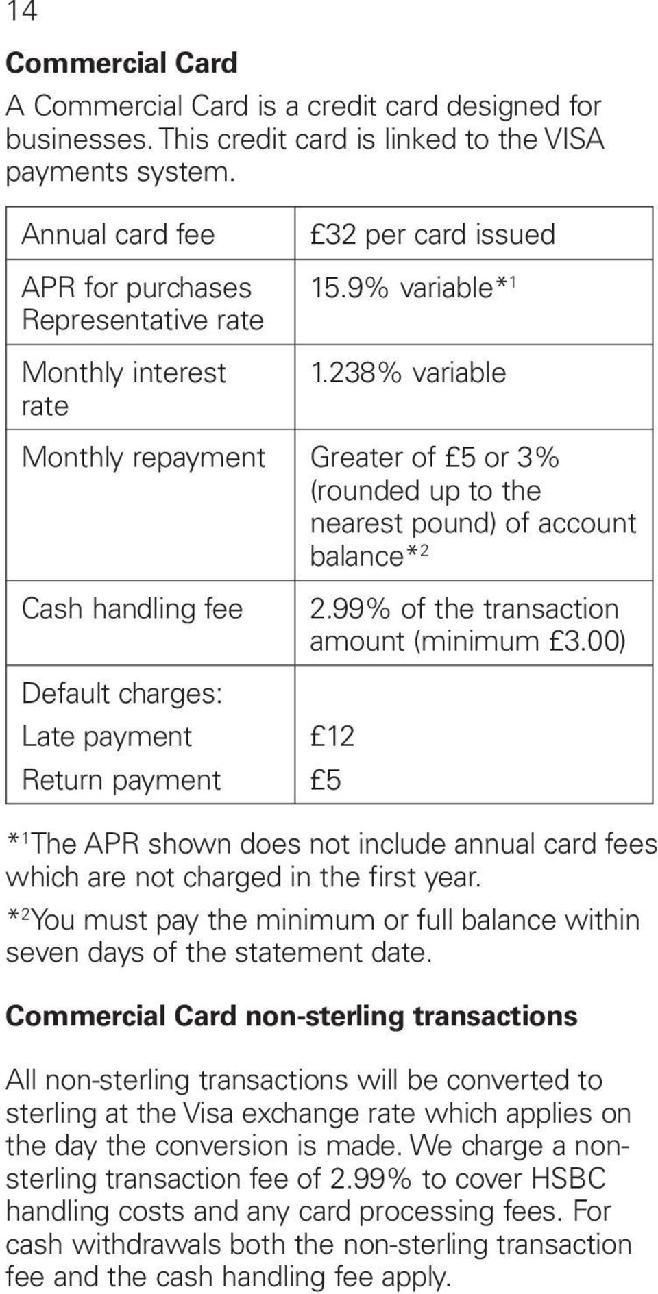 238% variable Monthly repayment Greater of 5 or 3% (rounded up to the nearest pound) of account balance* 2 Cash handling fee Default charges: Late payment Return payment 2.