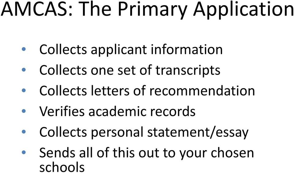 letters of recommendation Verifies academic records