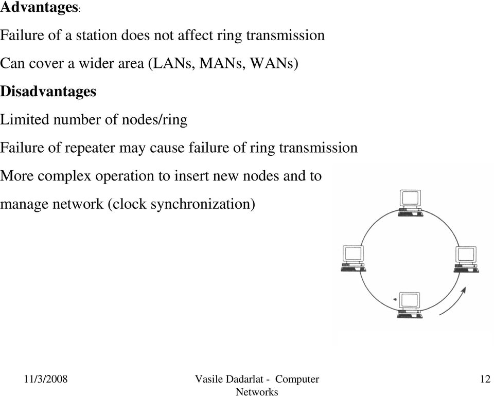 nodes/ring Failure of repeater may cause failure of ring transmission More