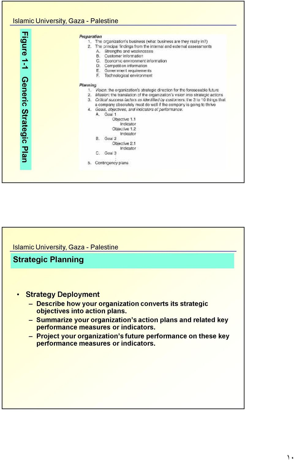 Summarize your organization s action plans and related key performance measures or