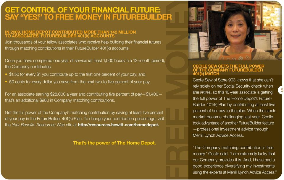 their financial futures through matching contributions in their FutureBuilder 401(k) accounts.