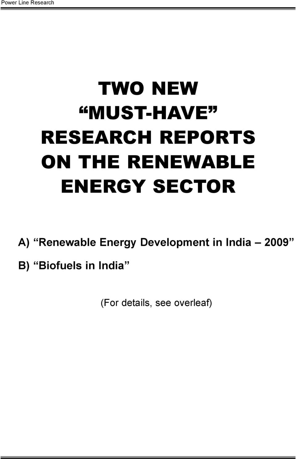 Renewable Energy Development in India
