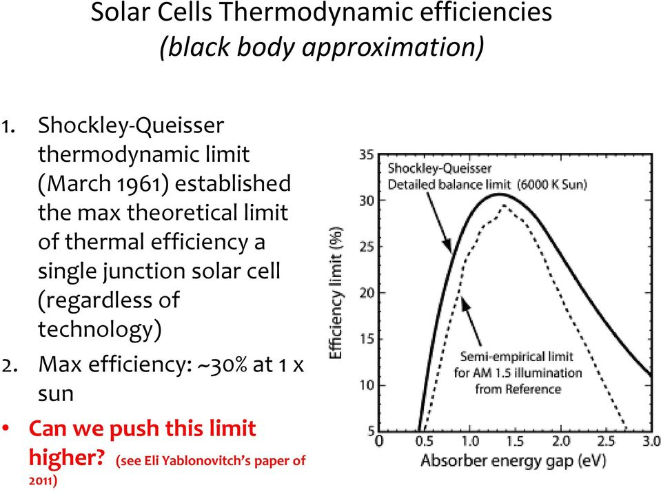 limit of thermal efficiency a single junction solar cell (regardless of technology)