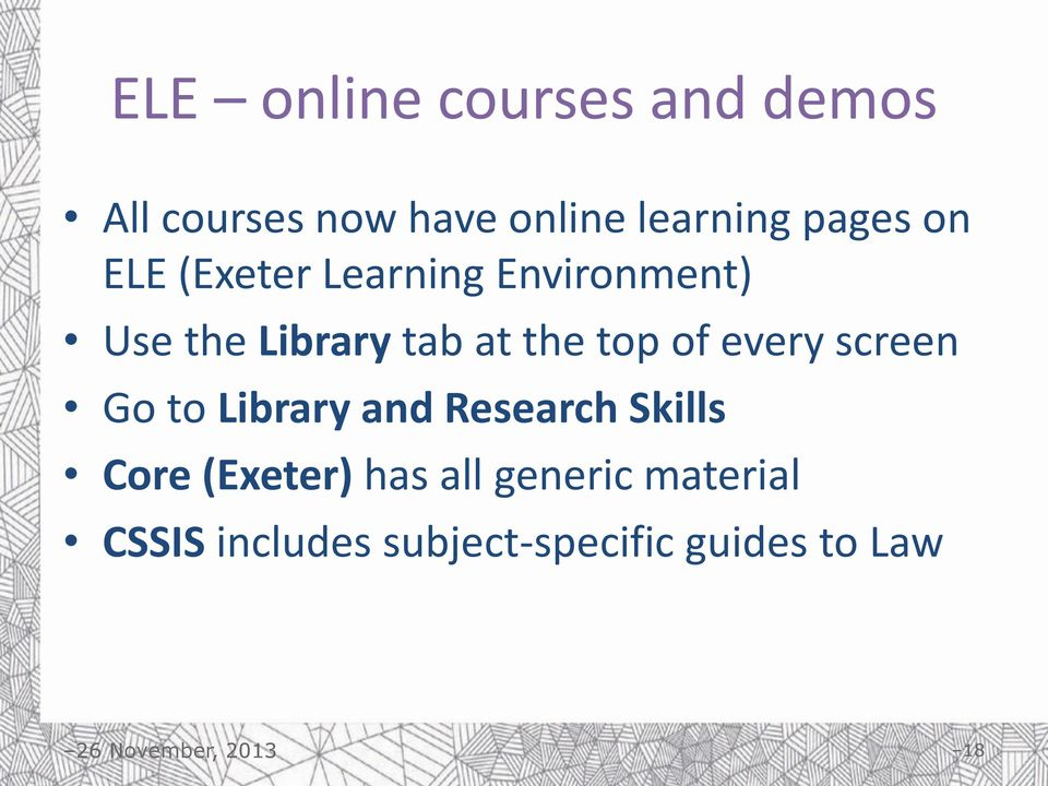 top of every screen Go to Library and Research Skills Core (Exeter)